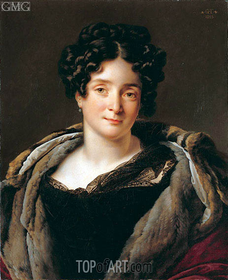 Portrait of Madame Jacques-Louis Etienne Reizet Colette-Desiree-Therese Godefro, 1823 | Girodet de Roussy-Trioson | Painting Reproduction