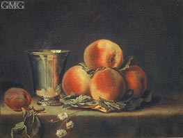 Still Life with Peaches and Silver Mugs | Vallayer-Coster | Painting Reproduction