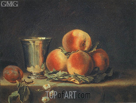Still Life with Peaches and Silver Mugs, 1797 | Vallayer-Coster | Painting Reproduction