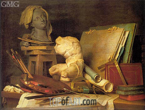 Attributes of Painting, Sculpture and Architecture, 1769 | Vallayer-Coster | Painting Reproduction