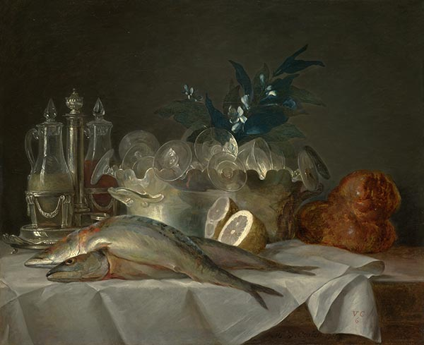 Still Life with Mackerel, 1787 | Vallayer-Coster | Painting Reproduction