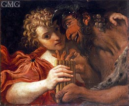 Satyr and Shepherd, Undated by Annibale Carracci | Painting Reproduction