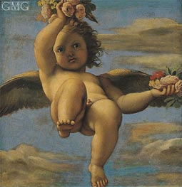 A Cherub Carrying Flowers, Undated by Annibale Carracci | Painting Reproduction