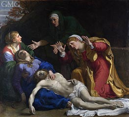 The Dead Christ Mourned (The Three Maries), c.1604 by Annibale Carracci | Painting Reproduction