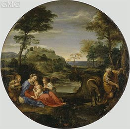 Holy Family (Rest on the Flight into Egypt), c.1604 by Annibale Carracci | Painting Reproduction