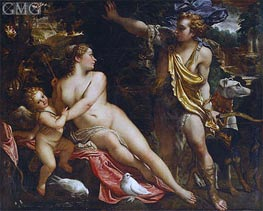 Venus, Adonis and Cupid, c.1590 by Annibale Carracci | Painting Reproduction