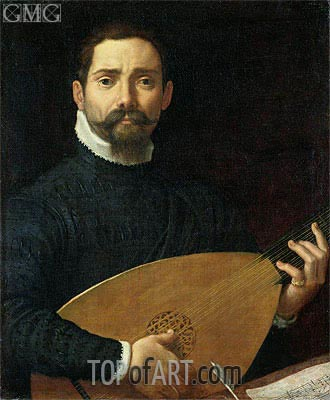 Portrait of a Lute Player, c.1593/94 | Annibale Carracci | Gemälde Reproduktion