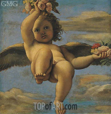 A Cherub Carrying Flowers, Undated | Annibale Carracci | Painting Reproduction