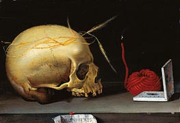 Vanitas Still Life with Skull, Wax Jack and Pocket Sundial, c.1620 by Anonymous German Master | Painting Reproduction