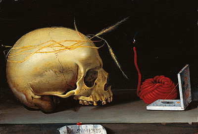 Vanitas Still Life with Skull, Wax Jack and Pocket Sundial, c.1620 | Anonymous German Master | Painting Reproduction