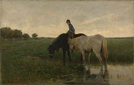 Watering Horses, 1871 by Anton Mauve | Painting Reproduction