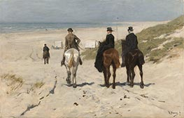 Morning Ride along the Beach, 1876 by Anton Mauve | Painting Reproduction