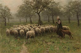 Shepherdess with a Flock of Sheep, c.1870/88 by Anton Mauve | Painting Reproduction