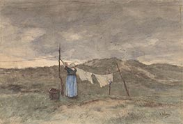 A Woman Spreads Laundry on the Dunes | Anton Mauve | Painting Reproduction