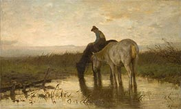 Drinking Horses, c.1870 by Anton Mauve | Painting Reproduction