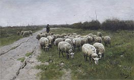 Shepherd with Sheep | Anton Mauve | Painting Reproduction