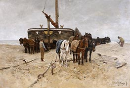 Fishing Boat on the Beach, 1882 by Anton Mauve | Painting Reproduction