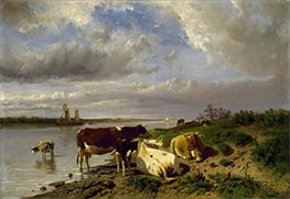 Landscape with Cattle, c.1880 by Anton Mauve | Painting Reproduction