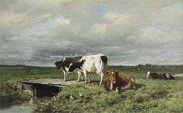 Cattle in an Extensive Polder Landscape, Undated by Anton Mauve | Painting Reproduction