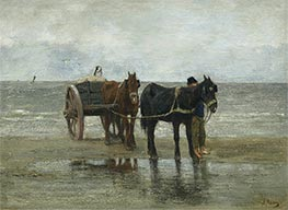 Horses and Cart on a Beach, Undated by Anton Mauve | Painting Reproduction