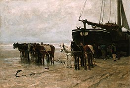 Fishing Boat and Draught-Horses on the Beach, 1876 by Anton Mauve | Painting Reproduction