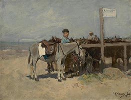 Donkey Stand on the Beach at Scheveningen, c.1876 by Anton Mauve | Painting Reproduction