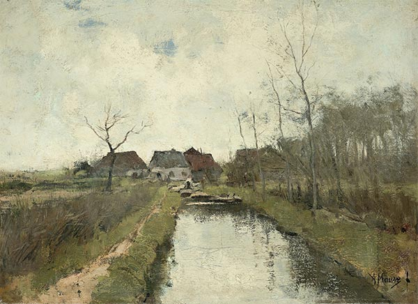 House on a Ditch, c.1870/88 | Anton Mauve | Painting Reproduction