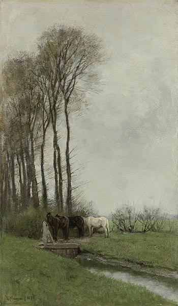 Horses at the Fence, 1878 | Anton Mauve | Painting Reproduction