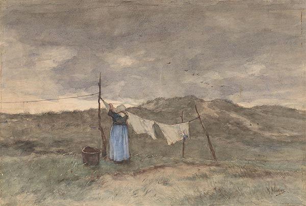 A Woman Spreads Laundry on the Dunes, c.1848/88   Anton Mauve   Painting Reproduction