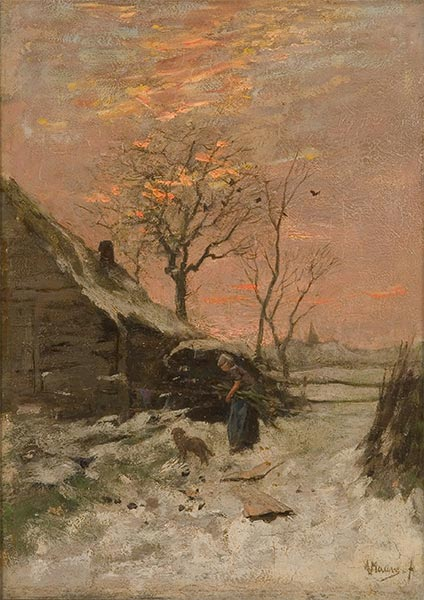 Winter Landscape (Farm with Woman and Dog in the Snow), Undated | Anton Mauve | Painting Reproduction
