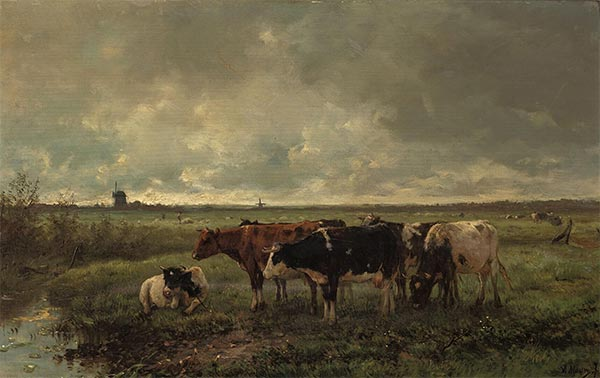 Landscape with Cows and Mill on the Horizon, c.1858/88 | Anton Mauve | Painting Reproduction