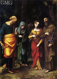 Saints Peter, Martha, Mary Magdalene and Leonard, c.1514/16 by Correggio | Painting Reproduction