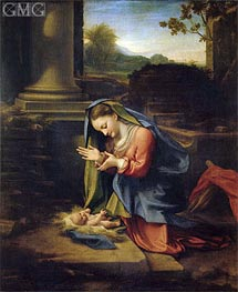 Our Lady Worshipping the Child, c.1525 by Correggio | Painting Reproduction