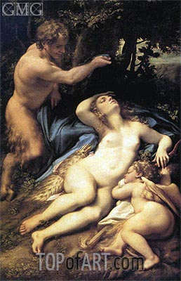 Venus, Satyr and Cupid, c.1524/25 | Correggio | Painting Reproduction