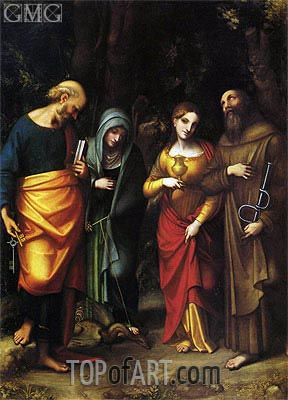 Saints Peter, Martha, Mary Magdalene and Leonard, c.1514/16 | Correggio | Gemälde Reproduktion