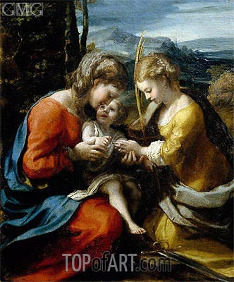 Mystic Marriage of Santa Caterina, c.1520 | Correggio | Painting Reproduction