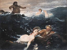 Playing in the Waves, 1883 by Arnold Bocklin | Painting Reproduction