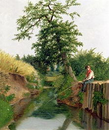 A Boy Fishing | Arthur Hughes | Painting Reproduction