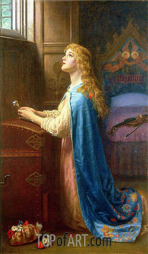 Forget me Not, undated | Arthur Hughes | Painting Reproduction
