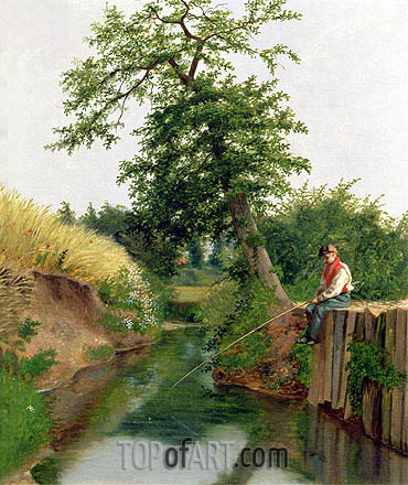 A Boy Fishing, undated | Arthur Hughes | Painting Reproduction