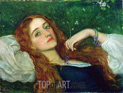 In the Grass, undated | Arthur Hughes | Painting Reproduction