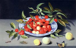 Still Life of Cherries and Peaches, undated by van der Ast | Painting Reproduction