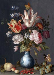Flowers in a Blue and White Gilt Vase | van der Ast | Painting Reproduction