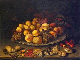 Plate with Fruits and Shells | van der Ast | Painting Reproduction