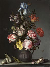 Flowers in a Vase with Shells and Insects | van der Ast | Painting Reproduction