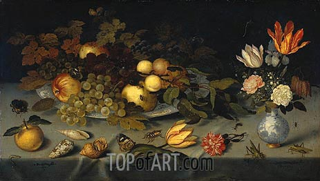 Still Life with Fruit and Flowers, 1620   van der Ast   Painting Reproduction