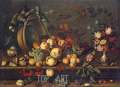 Still Life with Fruits, Shells and Insects, c.1620 | van der Ast | Painting Reproduction