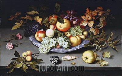 Still Life of Fruit on a Kraak Porcelain Dish, 1617 | van der Ast | Gemälde Reproduktion