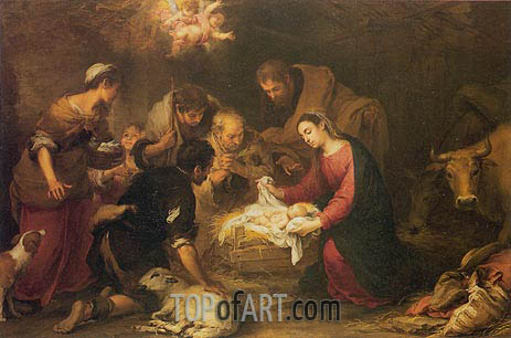 The Adoration of the Shepherds, c.1665/68 | Murillo | Gemälde Reproduktion