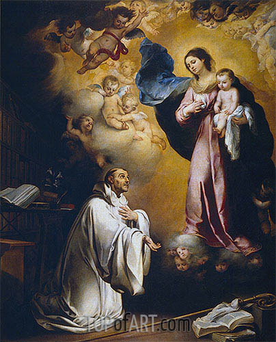 The Virgin Appears to Saint Bernard, c.1660 | Murillo | Painting Reproduction